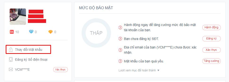 Cách đổi mật khẩu garena khong can so dien thoai